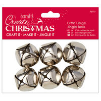 Large Silver Jingle Bells: Pack of 6