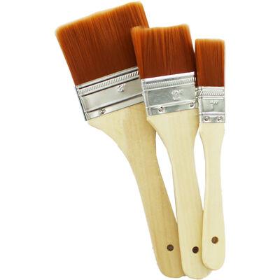 Wide Flat Paint Brush Set image number 2