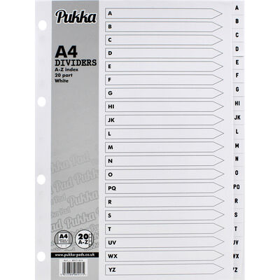 A4 Pukka A-Z Index White Dividers - 20 Pack image number 1