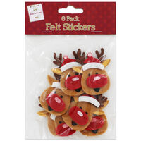 Reindeer Christmas Felt Embellishments: Pack of 6