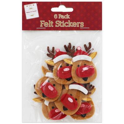 Reindeer Christmas Felt Embellishments: Pack of 6 image number 1