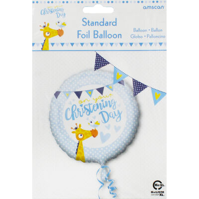 18 Inch Blue Christening Day Foil Helium Balloon image number 2
