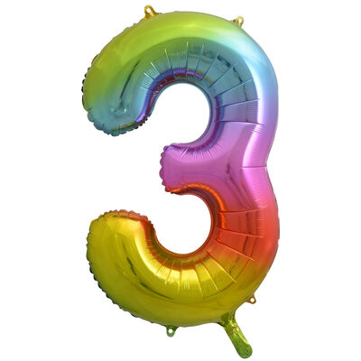 34 Inch Rainbow Number 3 Helium Balloon image number 1