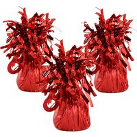 Red Tinsel Balloon Weights: Pack of 3