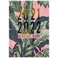 A5 Leaf Print 2021-2022 Day a Page Diary