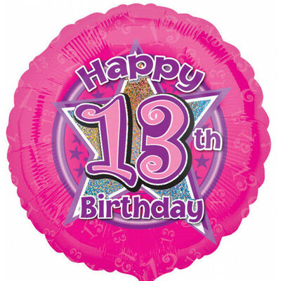 18 Inch Pink Happy 13th Birthday Foil Helium Balloon image number 1