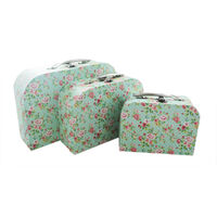 Rose Print Storage Suitcases - Set Of 3