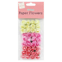 Pink and Cream Paper Flowers - 36 Pack
