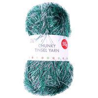 Green Silver Chunky Tinsel Yarn - 50g