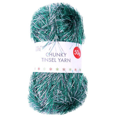 Green Silver Chunky Tinsel Yarn - 50g image number 1