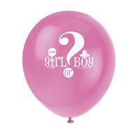 Gender Reveal Girl or Boy Latex Balloons - 8 Pack