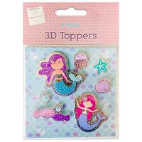3D Mermaid Toppers: Pack of 6