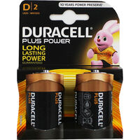 Duracell Plus Power D Batteries - Pack of 2