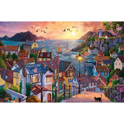 Coastal Town at Sunset 1000 Piece Jigsaw Puzzle image number 2