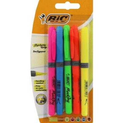 Bic Brite Liner Grip Highlighter Pens Pack of 5 image number 1