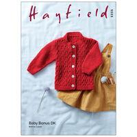 Hayfield Baby Bonus DK: Round Neck Cardigan Knitting Pattern 5335