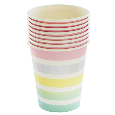 8 Pastel Striped Party Cups image number 1