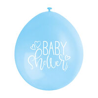Blue White Baby Shower Latex Balloons - 10 Pack