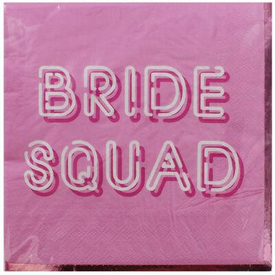 Pink Bride Squad Paper Napkins - 16 Pack image number 1