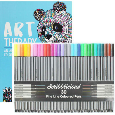 Art Therapy Colouring Book and Pens Bundle image number 1