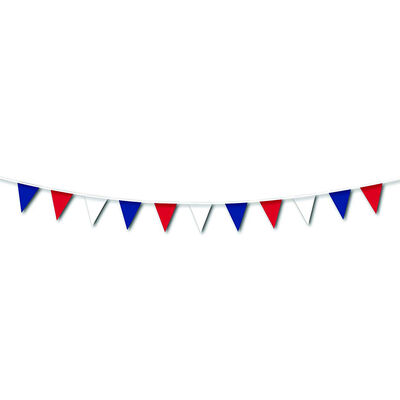 Red, White and Blue 25m Plastic Pennant Bunting image number 2