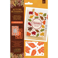 Nature's Garden Autumn Blessings Embossing Folder and Stencil: Falling Leaves