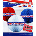 Red, White and Blue Hanging Honeycomb Balls - Set of 3 image number 1