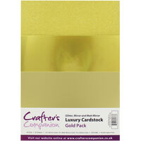 Crafters Companion A4 Luxury Cardstock Pack - Gold