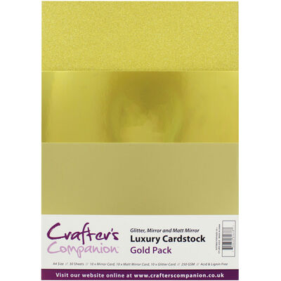 Crafters Companion A4 Luxury Cardstock Pack - Gold image number 1