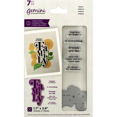 Gemini Floral Sentiment Stamp and Die - Family image number 1