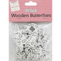 60 Wooden Butterflies - White