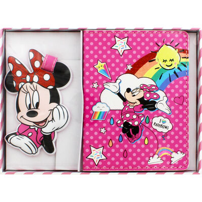 Disney Minnie Mouse Pink Rainbow Luggage Accessory Set image number 1