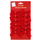 Red Ribbon Bows Pack of 12 image number 1
