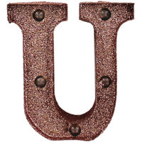 Rose Gold Light-Up Mini Marquee Letter - U