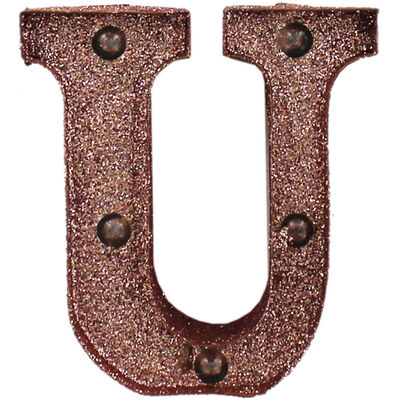 Rose Gold Light-Up Mini Marquee Letter - U image number 1