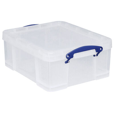 Really Useful 18 Litre Clear Plastic Storage Box image number 1