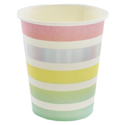 8 Pastel Striped Party Cups image number 2