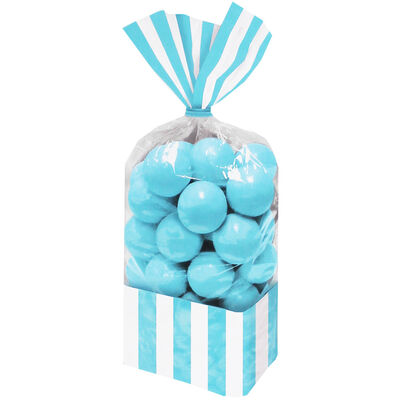 10 Blue Striped Cellophane Favour Bags image number 1