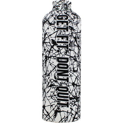 Black White Get Fit Dont Quit Aluminium Bottle with Carabiner image number 2
