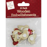 Wooden Robin Embellishments: Pack of 10