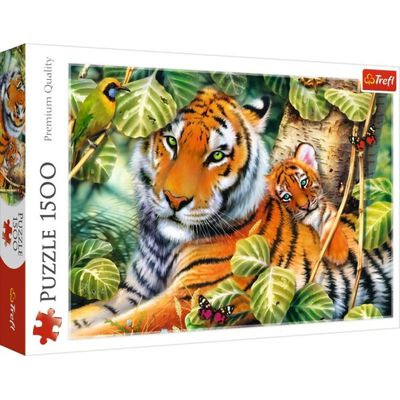 Two Tigers 1500 Piece Jigsaw Puzzle image number 1