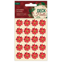 Red Poinsettia Stickers: Pack of 20