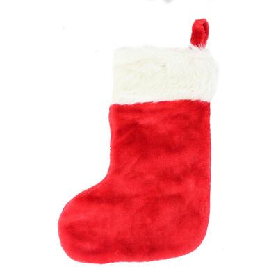 Red Plush Christmas Stocking image number 1