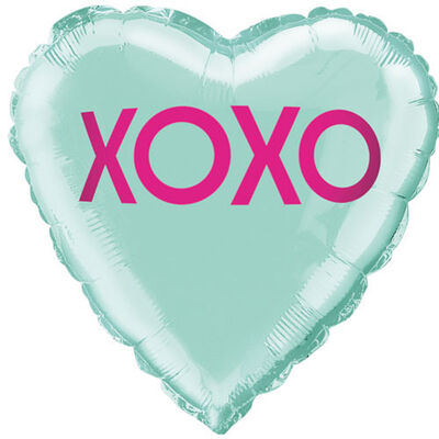 18 Inch Xoxo Teal Heart Foil Helium Balloon image number 1