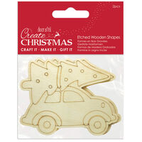 Car Etched Wooden Shapes: Pack of 2