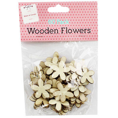 60 Wooden Flowers - Natural image number 1