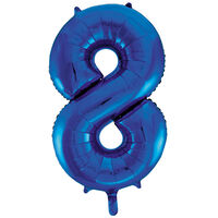 34 Inch Blue Number 8 Helium Balloon