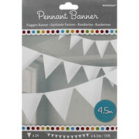 White Paper Pennant Banner 4.5m Bunting
