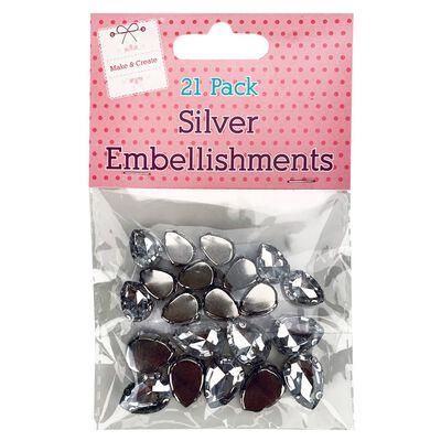 Silver Gem Embellishments - 21 Pack image number 1