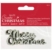 Silver Glitter Wooden Merry Christmas Embellishments: Pack of 6